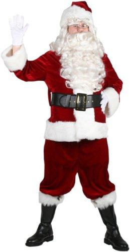 10pc Complete Velvet Santa Suit Adult Christmas Costume Size 42-48 Standard