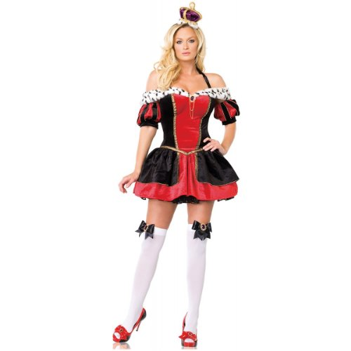 3Pc Royal Queen Sexy Holiday Party Costume (Black/Red;Medium)