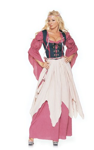 4Pc Medieval Renaissance Wench Sexy Holiday Party Costume (Rose/Navy;Large)