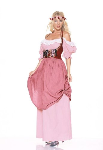 4Pc Renaissance Maiden Sexy Holiday Party Costume (Pink;Large)
