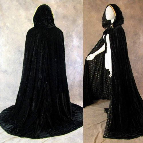 Artemisia Designs Lined Black Velvet Cloak with Gold Fleur De Lis Pattern