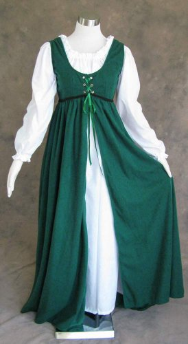 Artemisia Designs Medieval Renaissance Gown Dress and Chemise Green Medium
