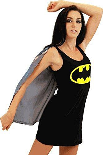 Batman Batgirl Black Costume Tank Dress with Attachable Cape (Batgirl) (Juniors Medium)
