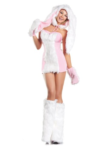 Be Wicked Costumes Women's Blushing Bunny Costume, Pink/White, Small/Medium