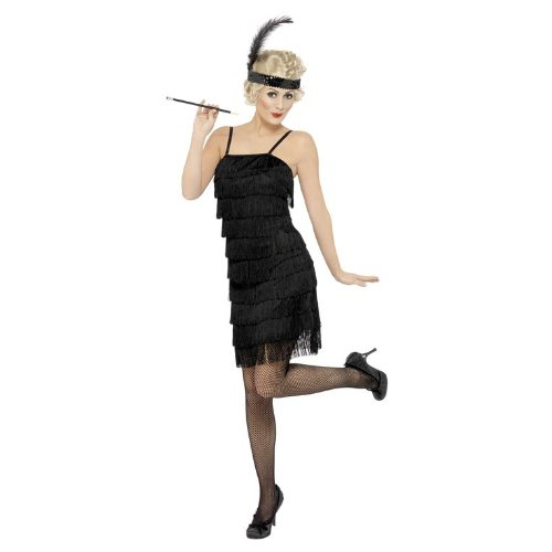 Black Fringe Flapper Adult Costume (Large)