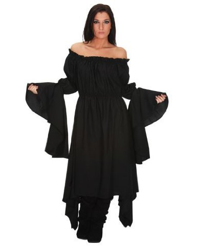 16bc9d4afc252 Black Gypsy Renaissance Pirate Chemise Top Medieval Peasant Costume ...