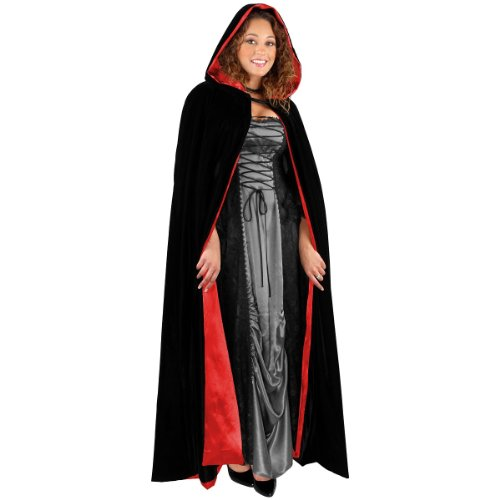 Black Velvet Full Length Cape with Hood Costume