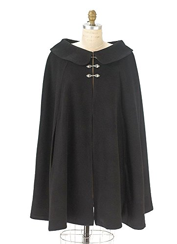 Black Wool Short Cape for Women (Circle Cut Medium Fit)