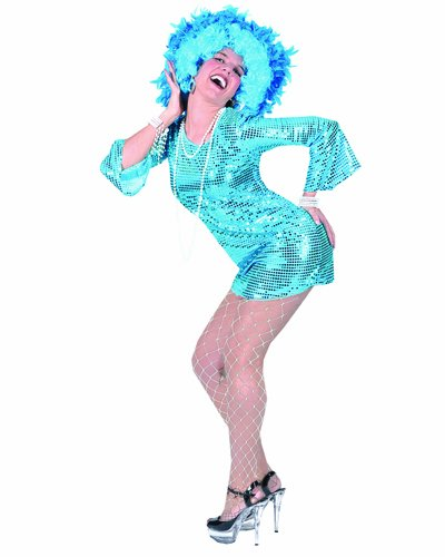 Blue 70's Disco Babe Adult Costumes Large Size 14-16