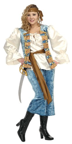 Blue Pirate Queen Adult Plus-Size Halloween Costume Size 16-22