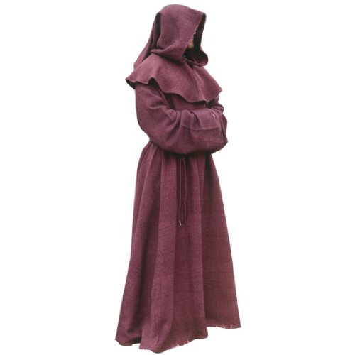 Brown Monk Robe and Hood Costume. Wizard Robe, Priest Robe, Mage Robe,One size