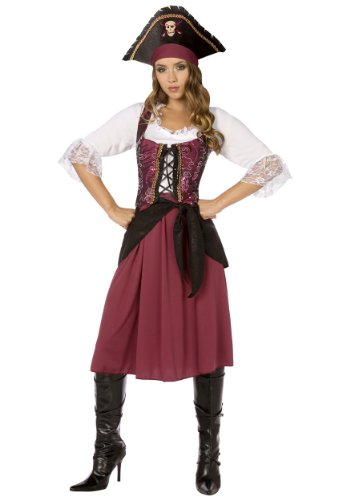 Burgundy Pirate Wench Adult Costume Size X-Large