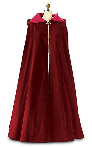 Burgundy Wine Velvet Cloak with Hood ~ Adult Size (Med)