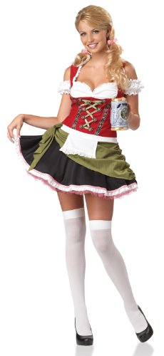 California Costumes Bavarian Bar Maid Set, Red/Olive, Medium