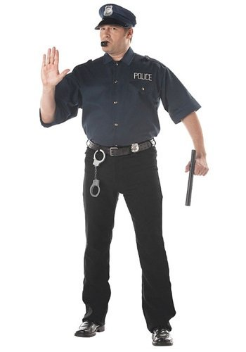 California Costumes Men's Cop Shirt Costume,Navy,P (48-52)