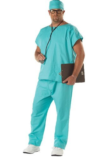 California Costumes Men's Doctor Scrubs Costume,Green,P (48-52)
