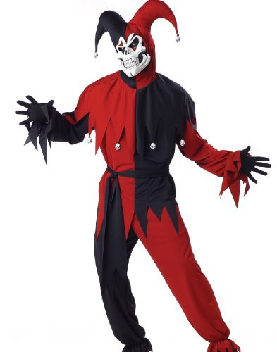 California Costumes Men's Evil Jester Mardi Gras Red Black S Black And Red