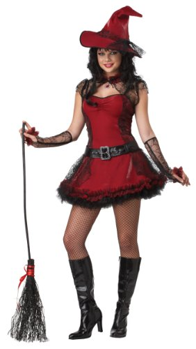 California Costumes Mischievous Witch Teen Dress, Red/Black, 11-13 Costume