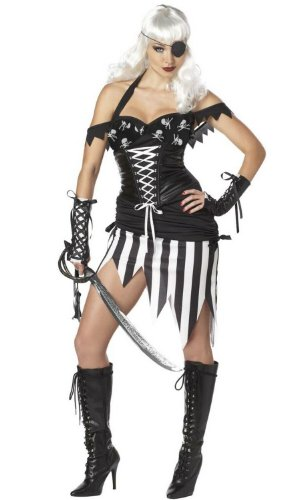 California Costumes Pirate Mistress Set, Black/White, Medium