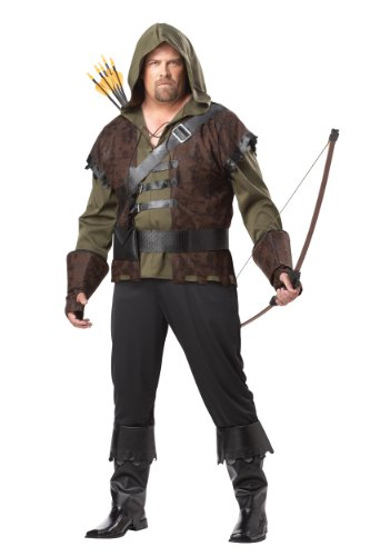 California Costumes Plus-Size Robin Hood Shirt With Vest, Olive/Brown, One Size Costume
