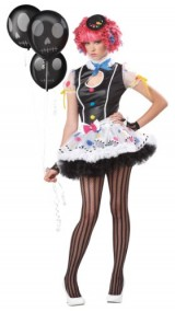 California-Costumes-Sassie-The-Clown-Dress-BlackWhite-3-5-Costume-0-0