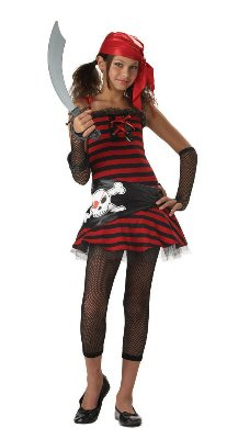California Costumes Teens Pirate Cutie Costume,Red/Black,Large