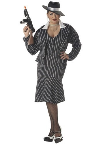 California Costumes Women's Mafia Mama Costume,Black/White,P (16-22)
