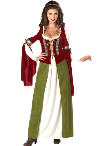 California Costumes Women's Maid Marian Marion Renaissance Medieval L Red And Olive