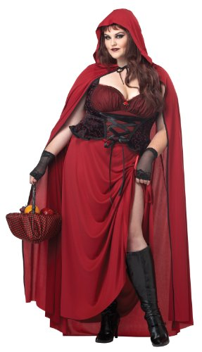 California Costumes Women's Plus-Size Dark Red Riding Hood Plus, Red, 3X