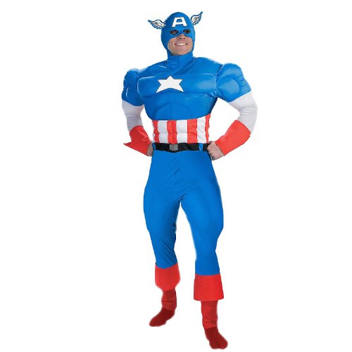 Captain America Deluxe Muscle Halloween Costume Size: 38-40
