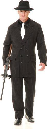 Charades Costumes Gangster Double Breasted Suit (Black/Red) Adult Costume Black X-Large