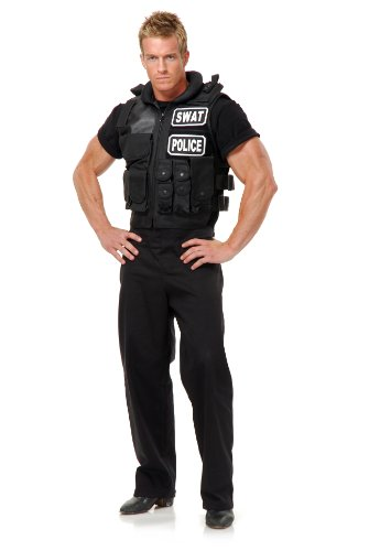 Charades Men's Swat Team Vest, Black, One Size