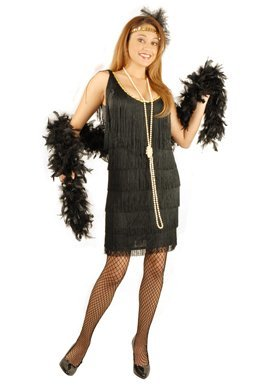Charades Women's Fashion Flapper Dress, Black, Large