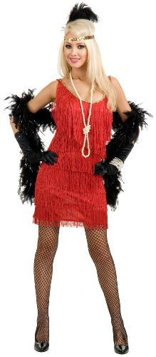 Charades Women's Plus-Size Fashion Flapper Dress, Red, 1X