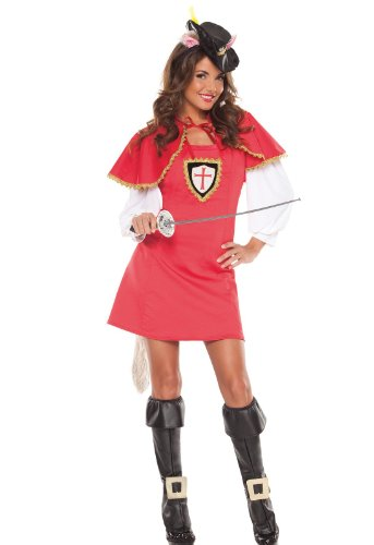 Coquette Womens Musketeer Puss In Boots Adult Costume Red Small/medium