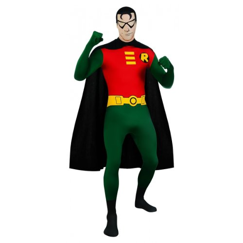 DC-Comics-Adult-Robin-2nd-Skin-Zentai-Super-Suit-GreenRed-Medium-Costume-0