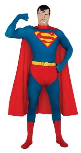 DC Comics Adult Superman 2nd Skin Zentai Super Suit, Blue, Large Costume