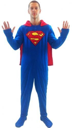DC Comics Superman 1 piece Footed Onsie Adult Blue Pajama with Cape (Adult Small)