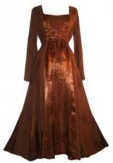 DR003-Vampire-Gothic-Costume-Rayon-Satin-Renaissance-Dress-Brown-2X-0-2