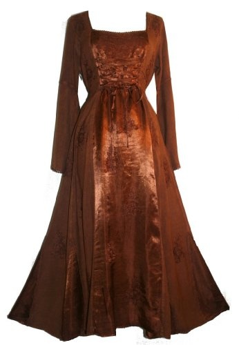 DR003-Vampire Gothic Costume Rayon Satin Renaissance Dress Brown 2X