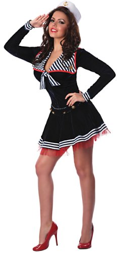 Delicious Women's Pin Me Up Sailor Sexy Costume, Blue/Red/White, Large/X-Large