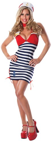 Delicious Women's Sassy Sailor Sexy Costume, Blue/Red/White, Medium/Large