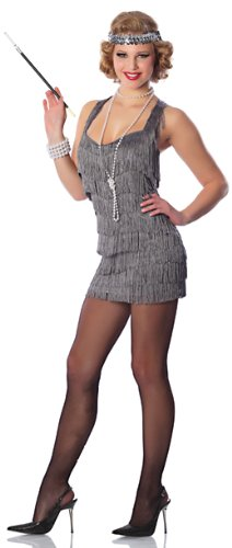 Delicious Women's Silver Lindy And Lace Sexy Flapper Costume, Silver, Large/X-Large