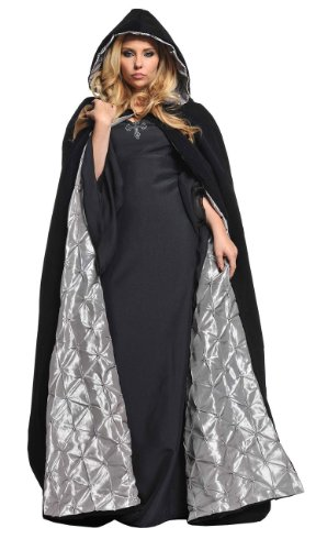 Deluxe Black Velvet and Silver Satin Cape