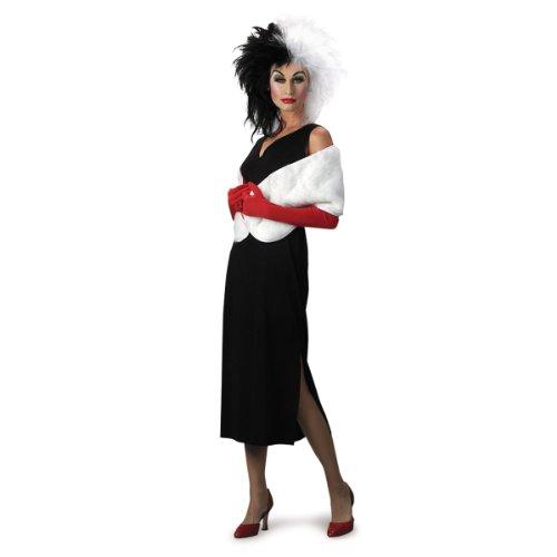 Disguise Adult 101 Dalmatians Disney Cruella De Vil Costume, Black/White, Large (12-14)