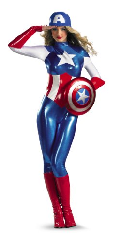 Disguise Marvel Captain America American Dream Bodysuit Womens Adult Costume, Red/White/Blue, Large/12-14