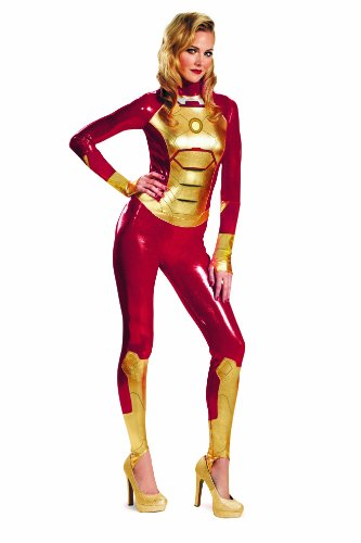 Disguise Marvel Iron Man 3 Mark 42 Lycra Sassy Womens Adult Bodysuit Costume, Gold/Red, X-Large/18-20