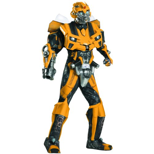 Disguise Men's Hasbro Transformers Age Of Extinction Movie Bumblebee Theatrical with Vacuform Plus 3D, Blue/Red, X-Large/42-46
