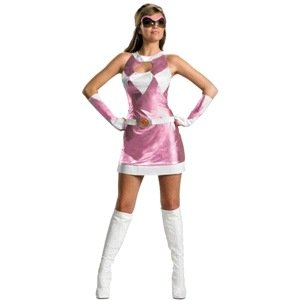 Disguise Unisex Adult Sassy Deluxe Power Ranger, Pink/White, Large (12-14) Costume