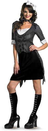 Disguise Unisex Adult Sassy Jack Skellington, Black/White, Large (12-14) Costume
